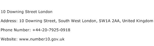 10 Downing Street London Address Contact Number