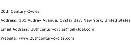 20th Century Cycles Address Contact Number