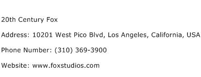 20th Century Fox Address Contact Number