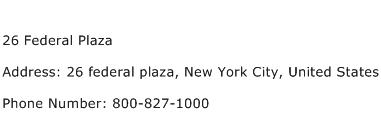 26 Federal Plaza Address Contact Number