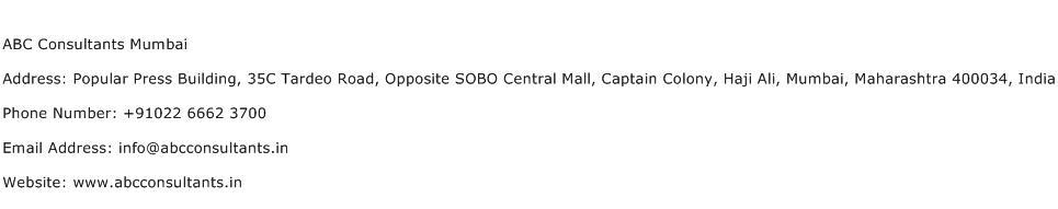 ABC Consultants Mumbai Address Contact Number