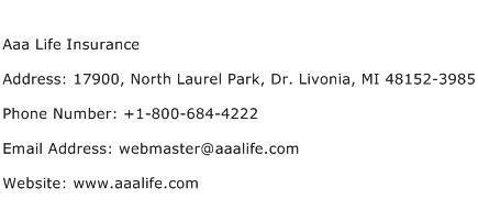 Aaa Life Insurance Address Contact Number