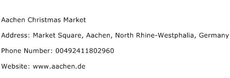 Aachen Christmas Market Address Contact Number