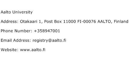 Aalto University Address Contact Number
