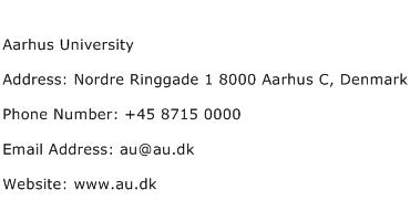Aarhus University Address Contact Number
