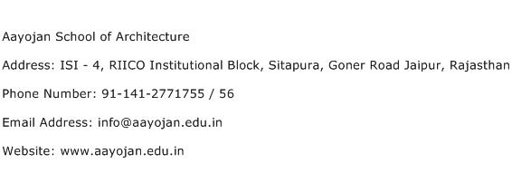Aayojan School of Architecture Address Contact Number