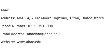 Abac Address Contact Number