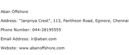 Aban Offshore Address Contact Number