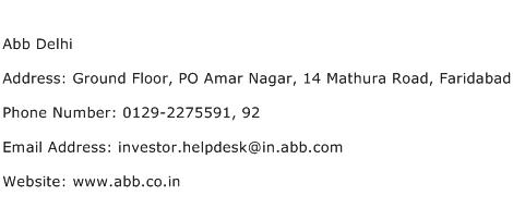 Abb Delhi Address Contact Number