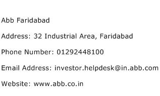 Abb Faridabad Address Contact Number