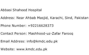Abbasi Shaheed Hospital Address Contact Number