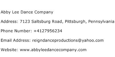 Abby Lee Dance Company Address Contact Number