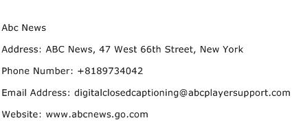 Abc News Address Contact Number