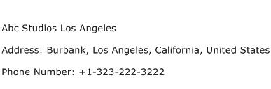 Abc Studios Los Angeles Address Contact Number