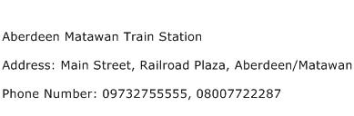 Aberdeen Matawan Train Station Address Contact Number