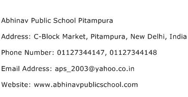 Abhinav Public School Pitampura Address Contact Number