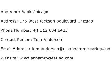 Abn Amro Bank Chicago Address Contact Number