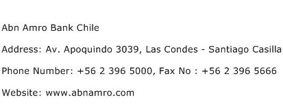 Abn Amro Bank Chile Address Contact Number