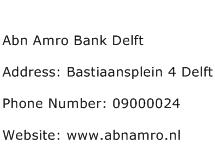 Abn Amro Bank Delft Address Contact Number