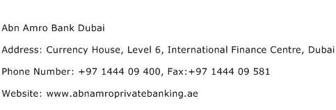 Abn Amro Bank Dubai Address Contact Number