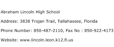 Abraham Lincoln High School Address Contact Number