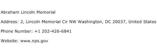 Abraham Lincoln Memorial Address Contact Number