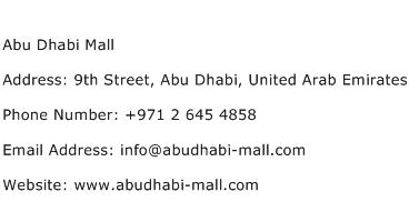 Abu Dhabi Mall Address Contact Number
