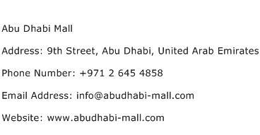 Abu Dhabi Mall Address Contact Number