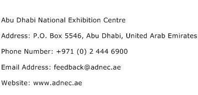 Abu Dhabi National Exhibition Centre Address Contact Number