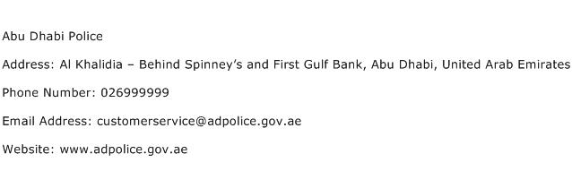 Abu Dhabi Police Address Contact Number