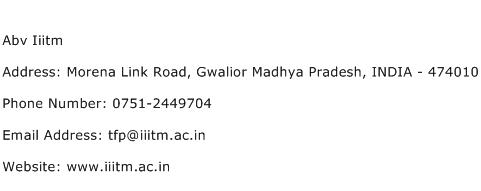 Abv Iiitm Address Contact Number