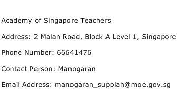 Academy of Singapore Teachers Address Contact Number