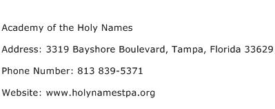 Academy of the Holy Names Address Contact Number