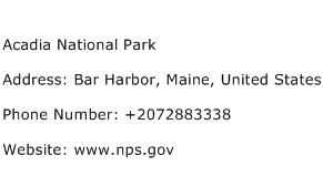 Acadia National Park Address Contact Number