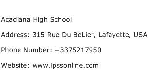 Acadiana High School Address Contact Number