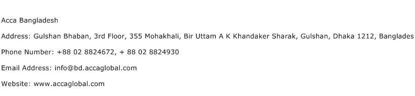 Acca Bangladesh Address Contact Number