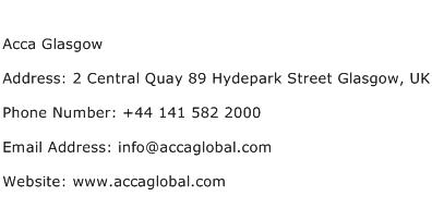Acca Glasgow Address Contact Number