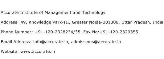Accurate Institute of Management and Technology Address Contact Number