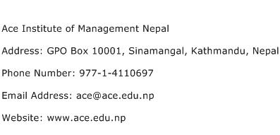 Ace Institute of Management Nepal Address Contact Number
