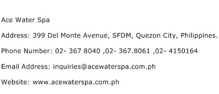 Ace Water Spa Address Contact Number