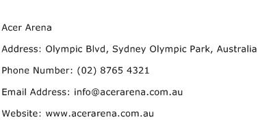 Acer Arena Address Contact Number
