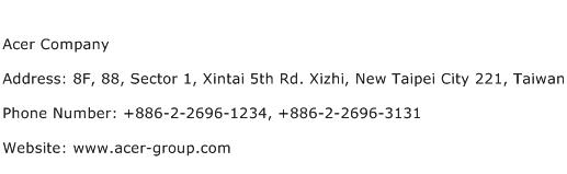 Acer Company Address Contact Number