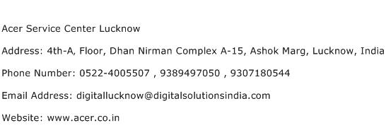 Acer Service Center Lucknow Address Contact Number