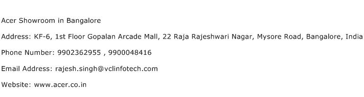 Acer Showroom in Bangalore Address Contact Number