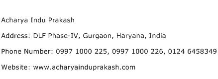 Acharya Indu Prakash Address Contact Number