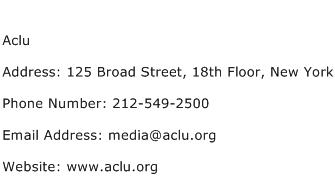 Aclu Address Contact Number