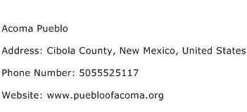 Acoma Pueblo Address Contact Number