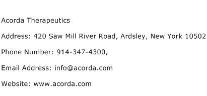 Acorda Therapeutics Address Contact Number