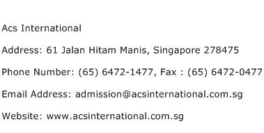 Acs International Address Contact Number