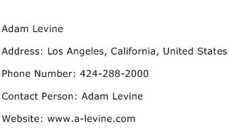 Adam Levine Address Contact Number